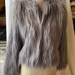 Missguided grey fuzzy looking jacket size 10
